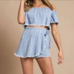 Show Me Your Mumu The Great Wrap Shorts chambray